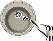 Schock Set Spüle + Armatur Gobi Beige rund Spülbecken Küchenspüle Wasserhahn