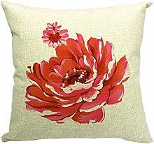 Schöne Blume Bedruckt Baumwoll Leinen Quadrat Wurf Kissenbezug Sofa Kissenbezug,3