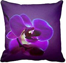 Schöne Blumen Zierkissen Kissenbezug Sofakissen Kopfkissen Lila Orchidee Deko Kissen Kissenhüllen 40cm 45cm 50cm