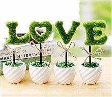 Schöne Einrichtung Künstliche Pflanzen LOVE Dekoration Grün Heckenschere Set–meiyaa Succulents Pflanze Set von 4Mini Topfpflanzen
