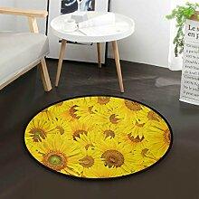 Schöne gelbe Sonnenblume Runde Teppich für