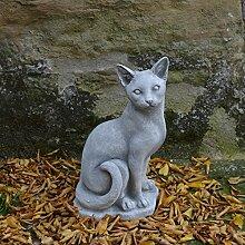 Schöne Katze Steinfigur Gartendeko Steinguss frostfes