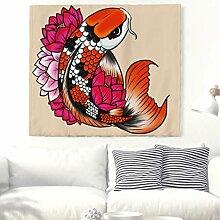 Schöne Koi Fische mit Lotus Wandteppich