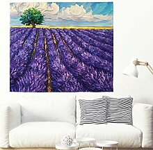 Schöne Lila Lavendelfeld Malerei Wandteppich