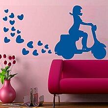 Schöne Mädchen Auf Roller-Wand-Vinylaufkleber-Kunst-Plakat Easy Peel & Stick-Wand-Dekor