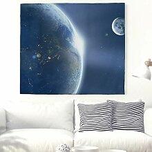 Schöne Planet Erde mit Sonnenlicht Wandteppich