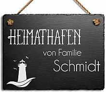 Türschild Namensschild Klingelschild mit Wunsch-Gravur Schiefer BK groß Vogel