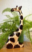 Schöne sitzende Giraffe Tier Holz Afrika Dekoration