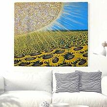 Schöne Sonnenblumen Feld Landschafts Wandteppich