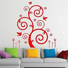 Schöne Vine & Birds Wandvinylaufkleber Easy Peel & Stick Aufkleber Wählen Farbe