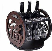 Schöne Weinflasche und Glashalter, Weinregal