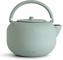 schöne Zen Teekanne aus Gusseisen, matt-Mint, 0,8