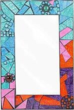 Schönen und bunten Glas Mosaik Wand montiert Holz Spiegel Mosaic