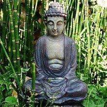 Schöner Buddah in Stein-Optik Garten Deko aus