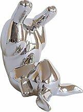 Schöner Hase im Kopfstand 16 cm silber Ostern Osterhase Frühling Dekoration