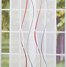 SCHÖNER LEBEN. Schiebevorhang Flächenvorhang Flächenschal Paneel Scherli Voile Wellen rot grau 60x245cm