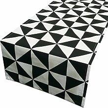 Schöner Leben Tischläufer Dreiecke schwarz weiß