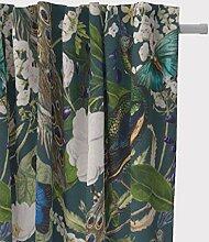 SCHÖNER LEBEN. Vorhang Pfau Blüten Petrol 245cm