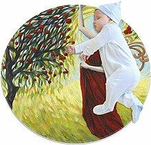 Schöner Mädchen-Teppich, Apfelbaum, rund, für