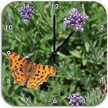 schöner Schmetterling auf Blumenwiese, Wanduhr