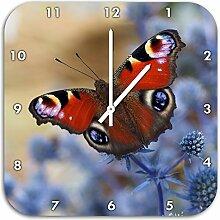 Schöner Schmetterling Pfauenauge, Wanduhr
