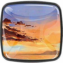 Schöner Sonnenuntergang am Meer, quadratische