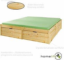 Schönes Funktionsbett aus Massivholz 140 x 200cm 2 große Schubladen auf Rollen und 1 Lattenrost natur lackier