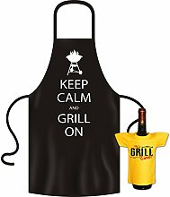 Schönes Grill Set von Goodman Design® - KEEP CALM and Grill on ! mit sagenhaften Mini T-Shirt in gelb !!