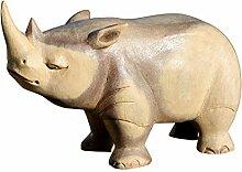Schönes Holz Nashorn Deko Tier Figur Afrika Dekoration Handarbeit Bali Nashorn02