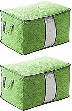 Schönes Leben* 3er Aufbewahrungsbox Aufbewahrungstasche aus Non Woven Tuch mit Bambus-Holzkohle Faltbare mit Deckel 60x42x32 (Grün)