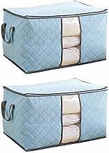 Schönes Leben* 3er Aufbewahrungsbox Aufbewahrungstasche aus Non Woven Tuch mit Bambus-Holzkohle Faltbare mit Deckel 60x42x32 (Blau)