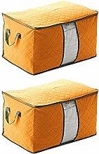Schönes Leben* 3er Aufbewahrungsbox Aufbewahrungstasche aus Non Woven Tuch mit Bambus-Holzkohle Faltbare mit Deckel 60x42x32 (Organge)