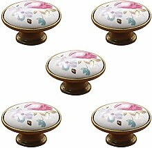 Schönes Leben* 5 Pcs Möbelknopf Schrankknöpfe Möbelknöpfe Set Möbelgriff SetRetro Keramik Türknopf (Bronze-Tulpe)