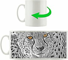 schönes liebevolles Geparden-Paar schwarz/weiß orange Augen, Motivtasse aus weißem Keramik 300ml, Tolle Geschenkidee zu jedem Anlass. Ihr neuer Lieblingsbecher für Kaffe, Tee und Heißgetränke.
