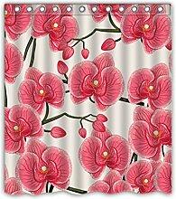 Schönes natürliches Rosa Orchideen Custom Design Home Fashion Wasserdicht Polyester Duschvorhang aus Stoff, mit Haken (167,6cm W x 182,9cm H), Polyester-Mischgewebe, weiß, 60\w x 72\h