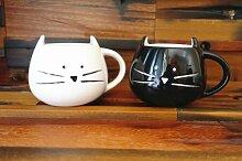 Schönes Süße kleine Weiß & Schwarz Cat Kaffeetasse Tasse aus Keramik Geschenkidee Geburtstag Weihnachten Maria Milch, 2 Stück