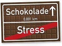 Schokolade Kunststoff Schild braun, kleines