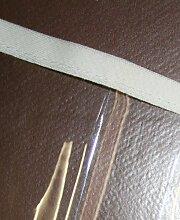 Schondecke stark transparent glasklar Tischdecke mit Einfassband natur 135x135
