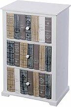 Schränkchen 26x40x65cm weiß mit drei Schubladen in Bücheroptik Schrank
