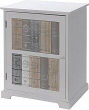 Schränkchen 35x46x23cm weiß mit Türe in Bücheroptik Schrank