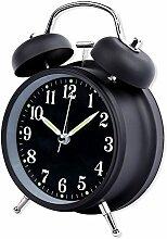 Schramm® Doppelglockenwecker in SCHWARZ mit Alarm