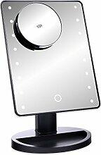 Schramm® LED Schminkspiegel SCHWARZ mit 10-Fach