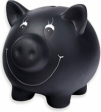 Schramm® Sparschwein schwarz aus Keramik mit
