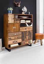 Schrank 105 x 35 x 130 cm Massiv Holz Highboard