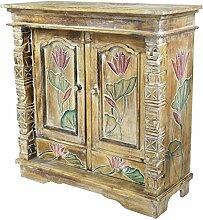 Schrank Kommode Sideboard Flurschrank Dielenschrank Telefonschrank Blumen Lotus 80x80 cm Braun Color W/W