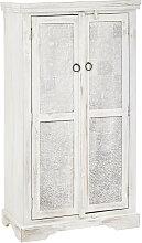 SCHRANK Mangoholz massiv antik, poliert Weiß