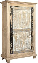 SCHRANK Mindiholz Schichtholz antik Grau, Naturfarben, Schwarz, Weiß