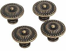 Schrank Schublade Griff - TOOGOO(R)Dekorative Vintage Rund Moebelknoepfe Bronze Schranktuer Schublade Packung von 4