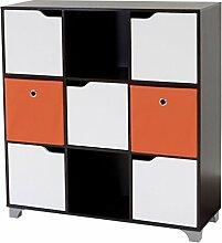 Schrank T365, Standregal Holzregal, walnussbraun inkl. 2 Faltboxen ~ orange
