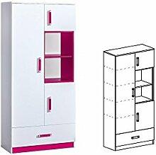 Schrank TRAFIKO Hochschrank Regal Bücherregal Jugendzimmer Kinderzimmer Möbel (weiß matt / rosa)